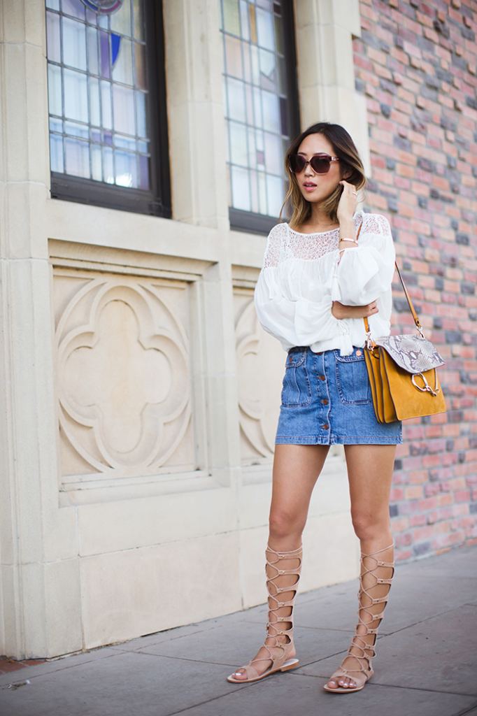 aimee_song_chloe_sunglasses_chloe_faye_bag_white_blouse_denim_skirt_gladiator_sandals